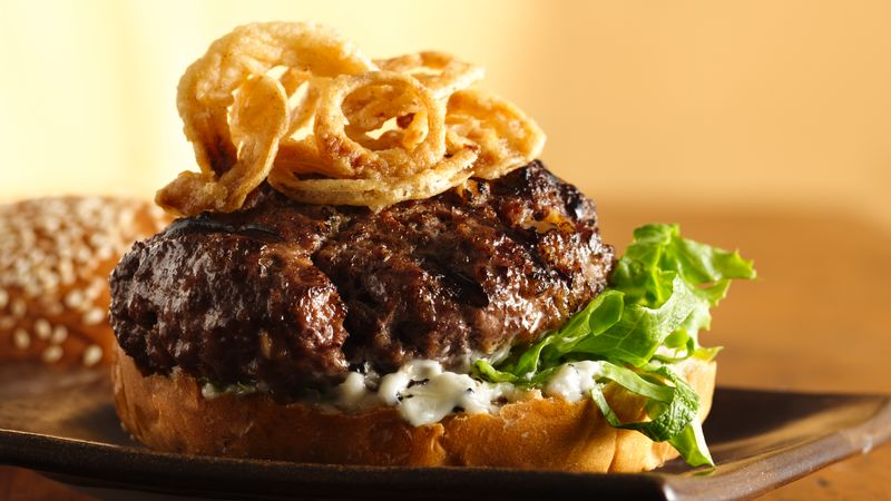 Killer Steak Burgers with Black Pepper Mayo and Crispy Onions