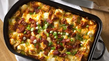 Double Bacon Bagel Egg Casserole