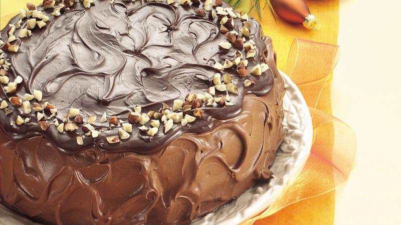Mocha-Hazelnut Cream-Filled Cake