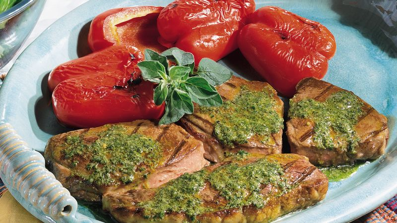 Grilled Steak and Peppers with Chimichurri Sauce
