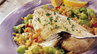 Lemony Fish over Vegetables and Rice