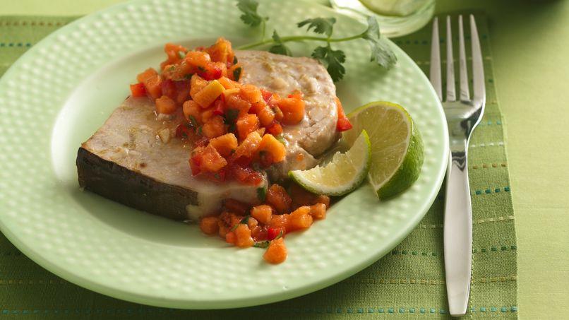Caribbean Swordfish with Papaya Salsa