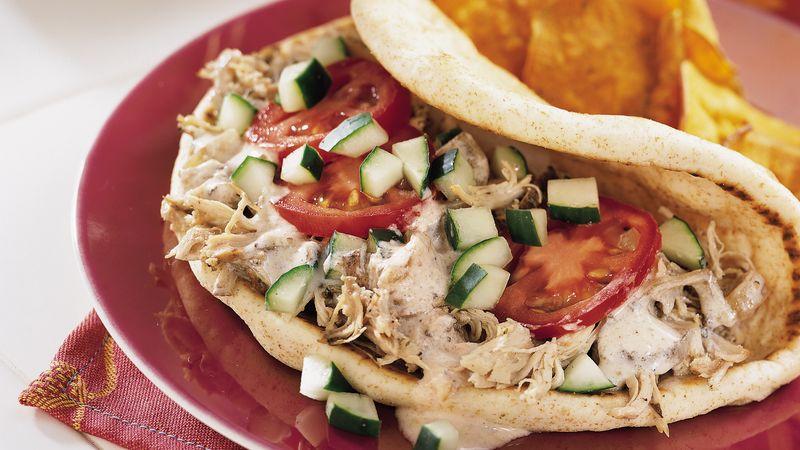 Slow-Cooker Greek Chicken Pita Folds