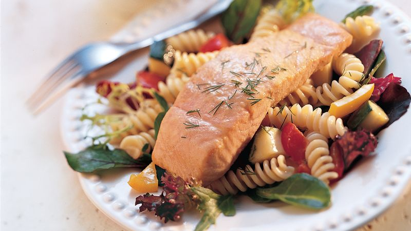 Honey-Mustard Grilled Salmon and Pasta Salad