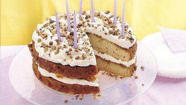 Cream-Filled Butter Pecan Birthday Cake
