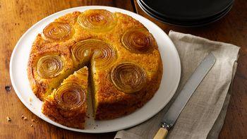 Upside-Down Cheesy Onion Cornbread
