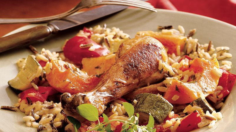 Baked Chicken and Rice with Autumn Vegetables