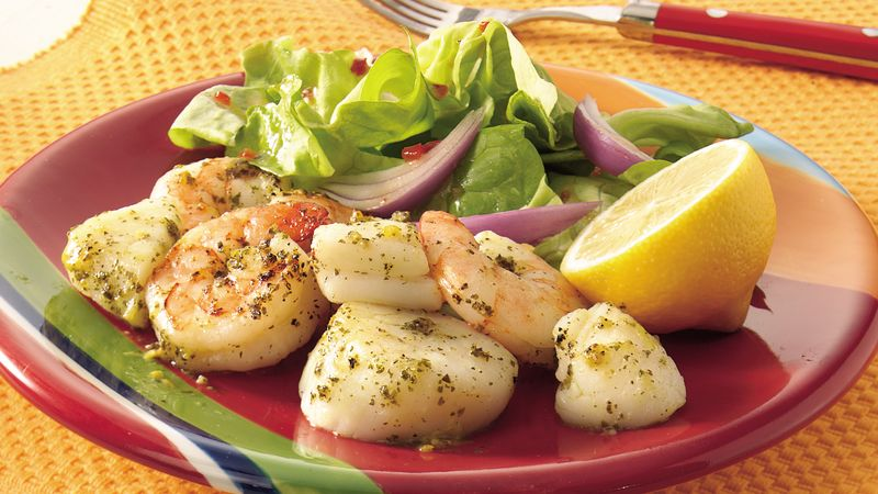 Grilled Lemon-Pesto Shrimp and Scallops