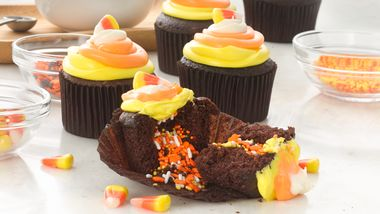 Candy Corn Surprise Inside Cupcakes