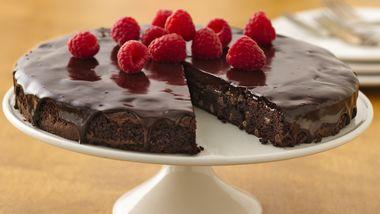 Gluten-Free Brownie Ganache Torte with Raspberries