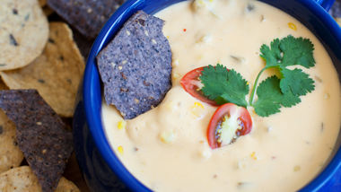 Roasted Corn, Tomato and Garlic Queso