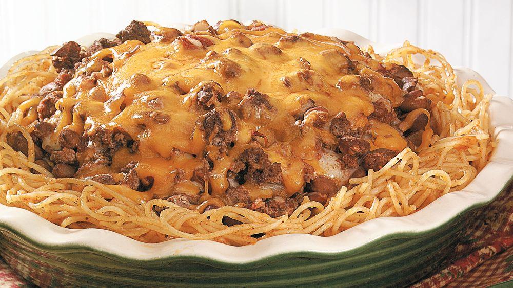 Burger-Bean Spaghetti Pie