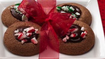 Peppermint-Fudge Thumbprint Cookies