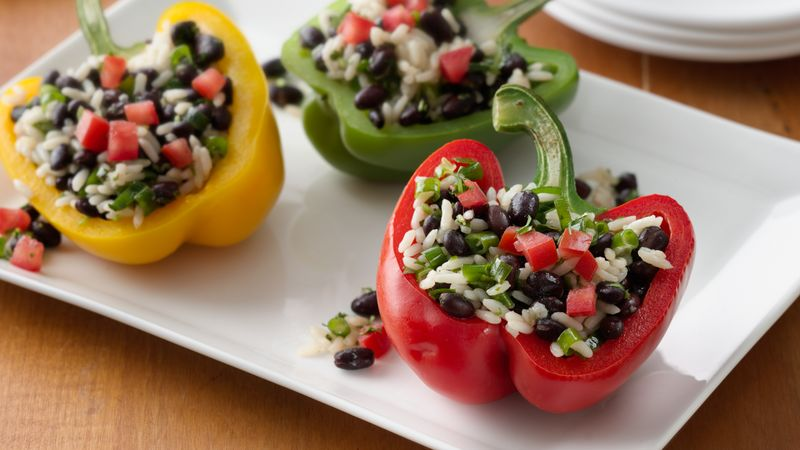 Grilled Black Bean- and Rice-Stuffed Peppers