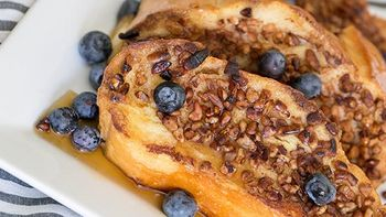 Pecan Crusted French Toast with Blueberries