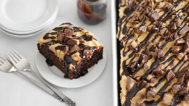 Peanut Butter-Chocolate Poke Cake