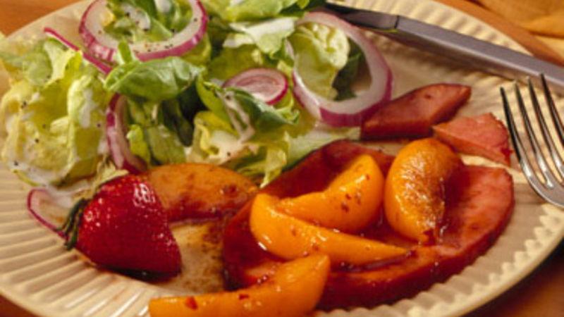 Pan-Fried Ham with Sweet Balsamic-Peach Sauce