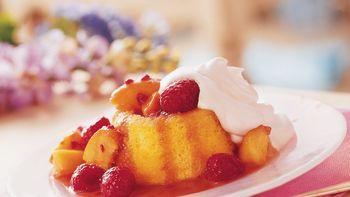 Caramelized Peach and Raspberry Shortcakes