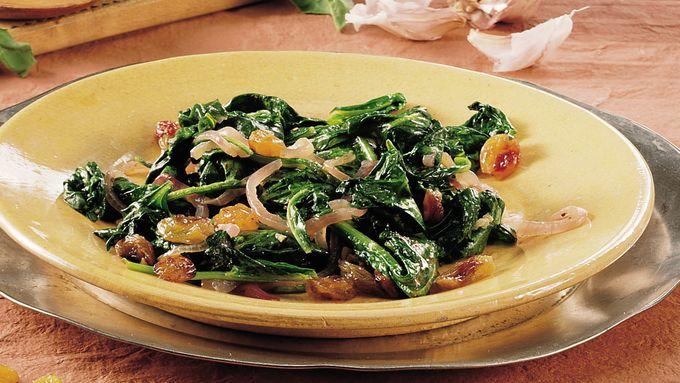 Greens with Garlic and Raisins (Saag)