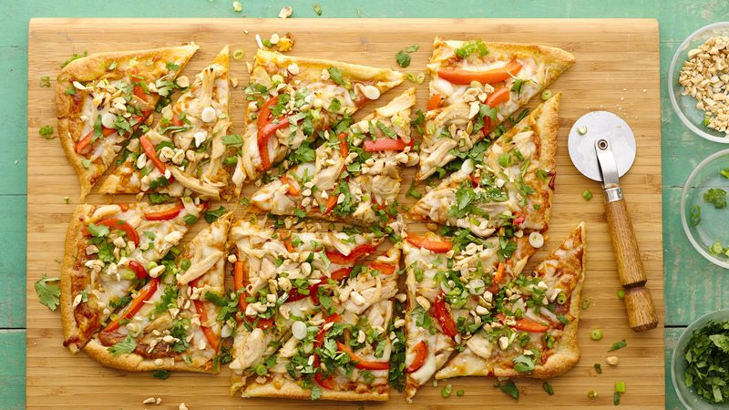 Homemade Thai Chicken Pizza