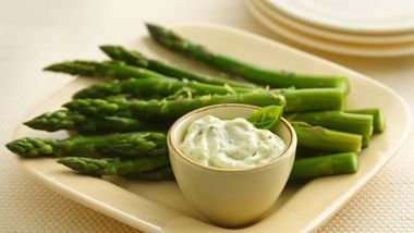 Asparagus with Basil Pesto Mayonnaise