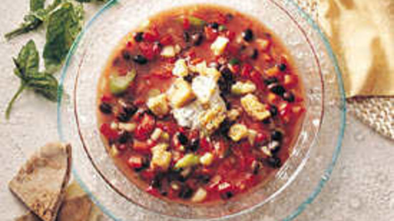 Gazpacho with Basil Crème Fraîche
