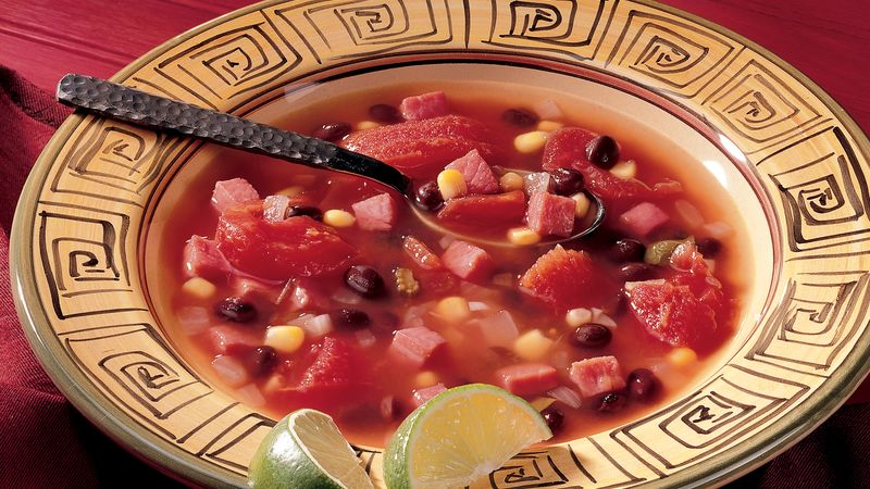 Caribbean Ham and Black Bean Soup
