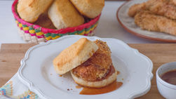 Oven-Fried Chicken Biscuit Sandwich with Chipotle Sauce