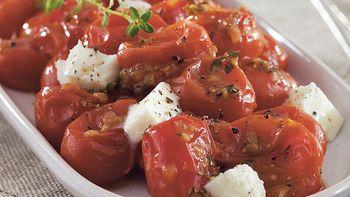 Pan-Sautéed Grape Tomatoes with Mozzarella