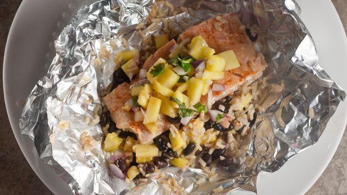 Salmon and Pineapple Salsa Foil Packs