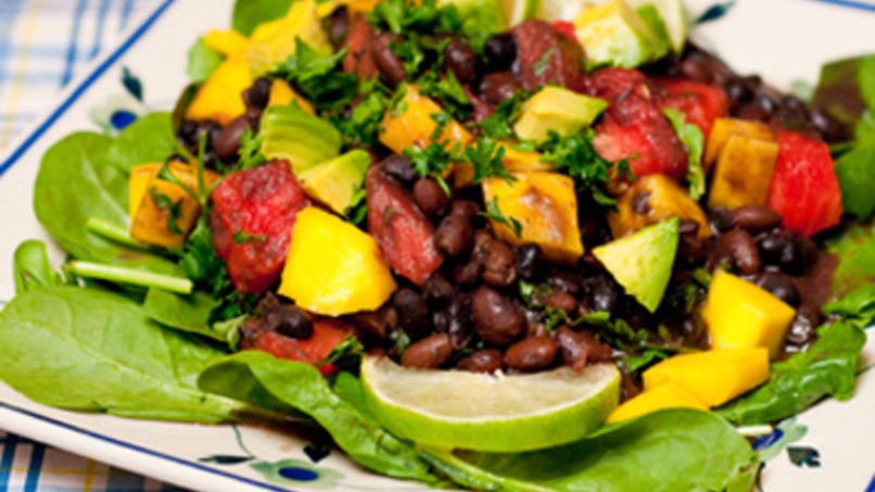 Salad with Black Beans, Mango, Watermelon and Avocado