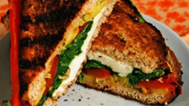 Grilled Veggie and Mozzarella Sandwich