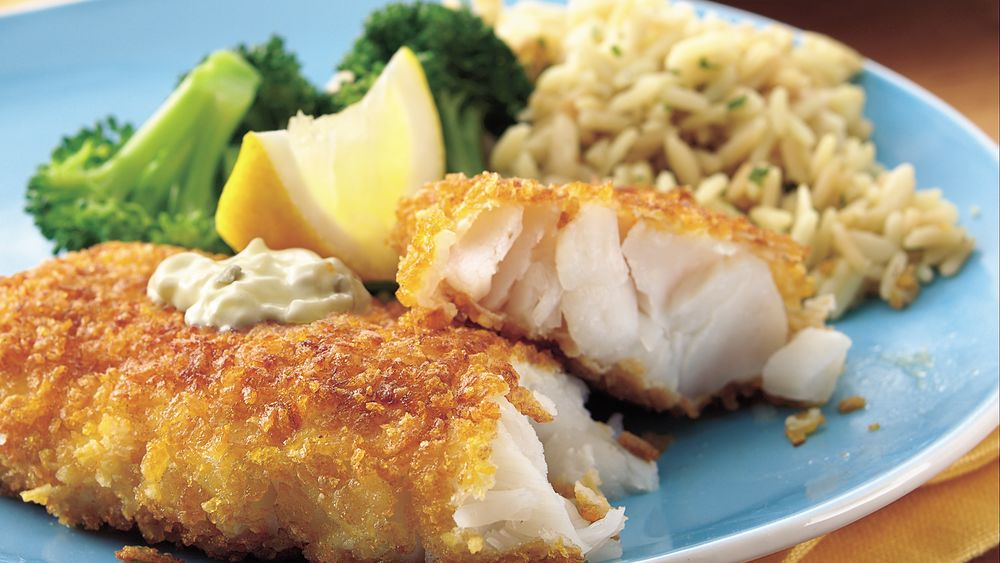 Corn Flake-Crusted Fish Fillets with Dilled Tartar Sauce