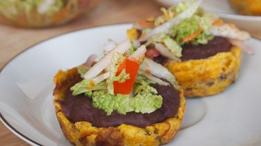 Green Plantain Canapés with Fried Beans and Coleslaw