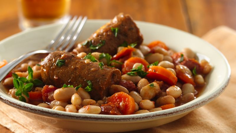 Slow-Cooker Great Northern Bean and Veggie Sausage Cassoulet