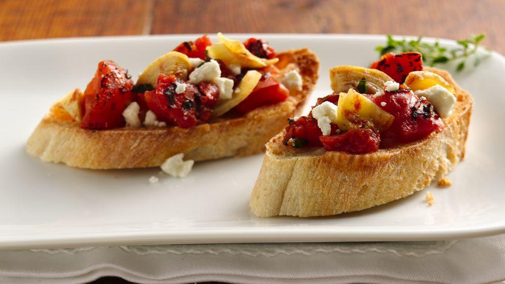 Tomato-Artichoke Bruschetta with Feta