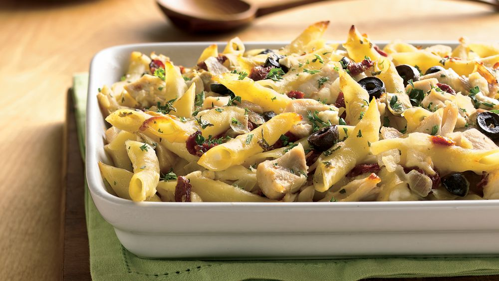 Greek and Chicken Pasta (Cooking for Two)