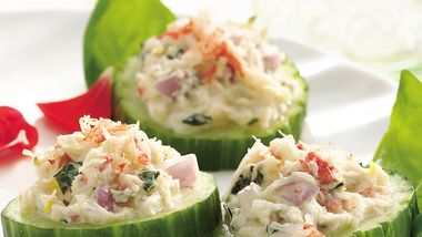 Basil- and Crabmeat-Topped Cucumbers