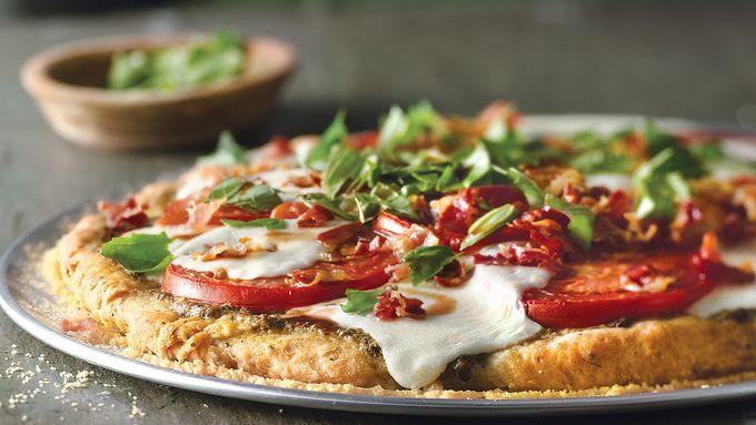 Caprese Pizza with Crispy Pancetta