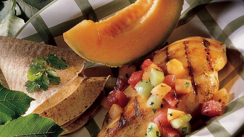 Grilled Chicken with Melon Salsa
