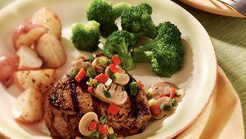 Mushroom and Onion-Topped Steak