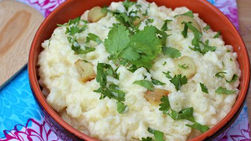 Mashed Potatoes with Cilantro and Roasted Garlic