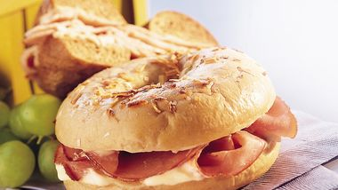 Ham Bagels with Honey-Mustard Cream Cheese
