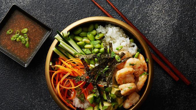 Sushi Rice Bowls with Shrimp