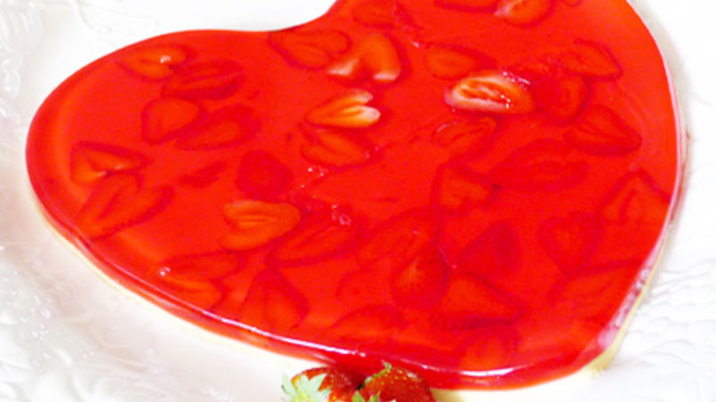 Heart Shaped Strawberries and Cream Gelatin