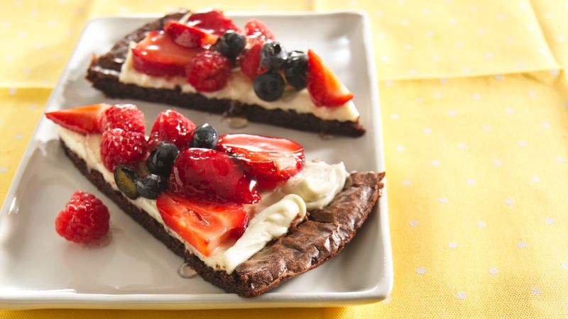 Red, White and Brownie Fruit Pizza