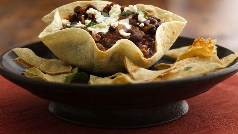 Black Bean-Chorizo Dip in Tortilla Bowls