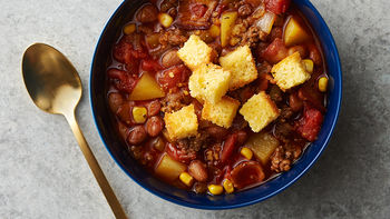 Slow-Cooker Cowboy Soup with Cornbread Croutons