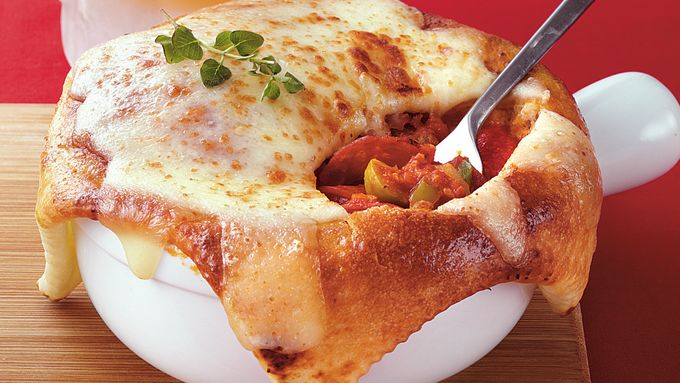 Cheese-Crusted Pizza Pot Pies