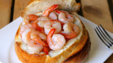 Garlic Shrimp in Bread Bowls
